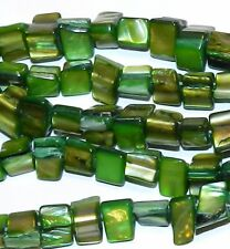 """MP473 Green Mother of Pearl Shell 9mm Tri-Tip Nugget Gemstone Beads 16"""""""