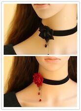 Gothic Victorian Black Velvet Ribbon Choker Necklace with Red/Black Rose LN010
