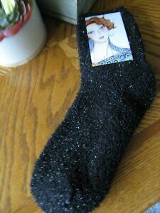 "New Black Fuzzy SHIMMER ""Spa Relaxation"" Sleep Spa Socks--Stocking Stuffer"