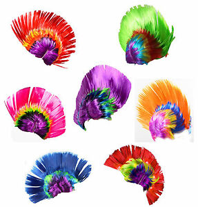 Unisex Mohawk Hair Wig Mohican Punk Rock Fancy Dress Cosplay Party Costume Wigs