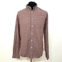 M&S Mens Shirt Size Large Red White Check Oxford Weave Gingham Regular Fit