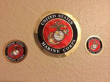 Marine Corps Sticker USMC Marines Crome Decal Set of 3