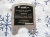 Maytag MODEL 92 caution plate SHORT SHALLOW TANK S-284