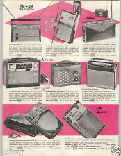 1962 PAPER AD Toshiba Arvin Zephyr Transistor Radio Portable
