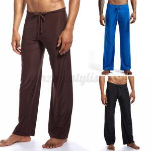 INCERUN Men Wide Leg Solid Baggy Long Pants Sleepwear Pyjamas Trousers Nightwear