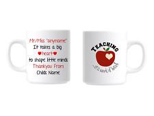 Personalised Teacher Thankyou Coffee Tea Mug Great Gift For End Of Term