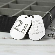 Personalised Mens Double Dog Tag Necklace Camouflage Age Birthday Gift 21st 18th