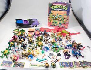 31 Vintage Teenage Mutant Ninja Turtles Action Figure Lot CAR,CASE,WEAPONS 88-91