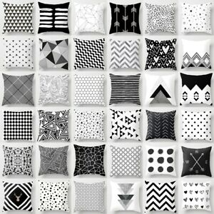 Geometric Pillow Case 18'' Geometric Cushion Cover Black And White Throw Square