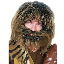 Herrenperücke Neandertaler mit Bart, braun-meliert