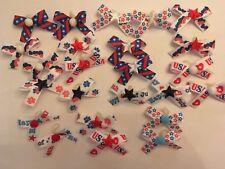 Xsmall-Small Patriotic Decorated Dog Bows Dog Grooming Bows 4th of July Handmade