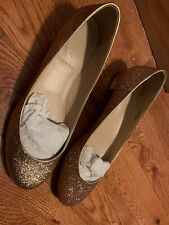 J Crew Janey Glitter Ballet Flats Size 8 Metallic Gold Shoes Style 24690 Womens