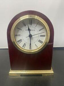 Howard Miller Wood Brass Desk Clock 645-389 *READ*