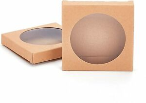 """24 Pack 3.5x3.5x0.6"""" Kraft Boxes with Window Foldable ($1.20 each)"""