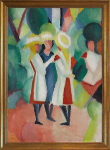 Classic Framed August Macke Three girls in straw hats  Giclee Canvas Print