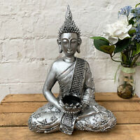Vintage Silver Sitting Buddha Jewels Tea Light Votive Candle Holder Ornament Art