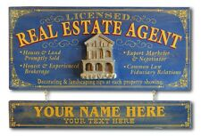 Personalized REAL ESTATE Vintage Wood Plank Sign, Office, Home, Man Cave, Women