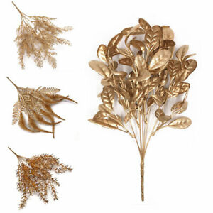 Artificial Plant Gold Silver Leaves Fake Flower Floral Party Home Decorative