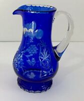 """AJKA HUNGARY MARSALA COBALT BLUE CASED CUT TO CLEAR CRYSTAL PITCHER 7 5/8"""""""