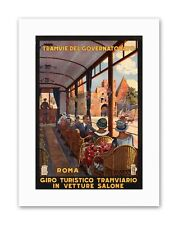 TRAM ROME ITALY Vintage Advertising Travel Retro Canvas art Prints