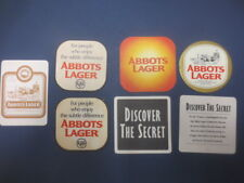 7 different C.U.B.,s ABBOTS LAGER  beer,collectable COASTERS