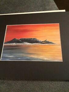 Table Mountain at Sunset in Abstract Wall Art Poster Print Landscape