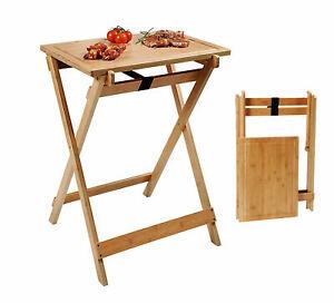 Kesper Holz BBQ Klapptisch mit Tablett - 79cm - Garten Grill Tisch Beistelltisch
