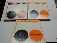 Lot of 3 Audiotape Recording Tape Reel In Boxes Recorded Music