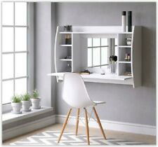 Wall Mounted Dressing Table Make Up Desk Computer Study Shelf Storage White