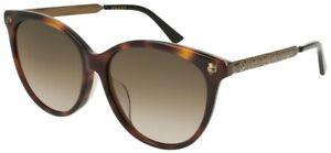 New Gucci Sunglasses GG0223SK 005 57-15-150 Dark Tortoise/Antique Gold MSRP $380