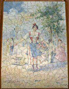 """Antique/VTG Handcut Wood Jigsaw """"Flower Girl"""" ~ Approx 300 pcs~ 30+ Figurals"""