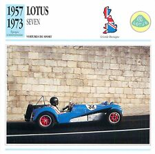 Lotus Seven Sport 4 Cyl. Coventry-Climax 1957 GB/UK CAR VOITURE CARTE CARD FICHE