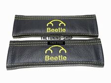 """2x SEAT BELT COVERS ARMREST PADS YELLOW """"BEETLE"""" EMBROIDERY FOR NEW BEETLE"""
