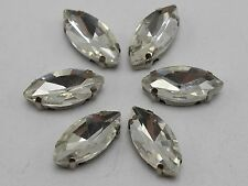 20 Silver Crystal Glass Horse Eye Rose Montees 7X15mm Sew on Rhinestones Beads