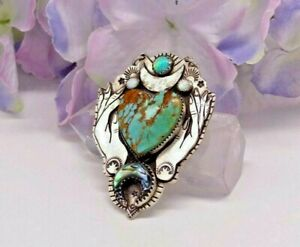 MAGIC HEART - Sterling Silver Turquoise Heart Hand Necklace by Nightgypsy83