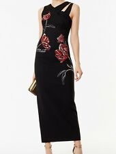 Karen Millen DC286 Black/Multi Embroidered Maxi Cocktail Evening Dress UK 6To16