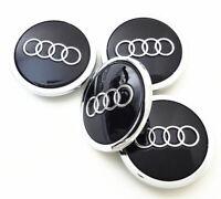 Satz 4 x 69mm Audi Schwarz Black Nabenkappen Felgendeckel Allufelgen 4B0601170A