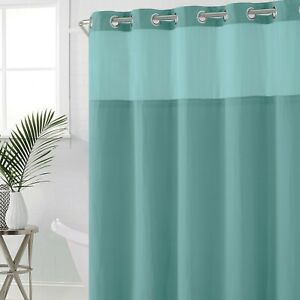 Hookless Waffle 71-Inch x 74-Inch Fabric Shower Curtain in Sea Blue
