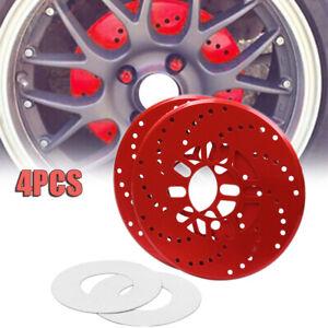 4PCS Red Aluminium Car Wheel Brake Disc Cover Decorative Rotor Cross Drilled SUV