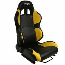 Tyrex 4x4 Sports Bucket Seat Black And Yellow Faux Leather Racing Sports