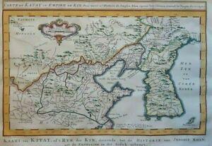 Corea Korea China Carte du Katay ou Empire de Kin Map BELLIN 1770