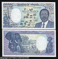 CAMEROUN CAMEROON 1000 FRANCS P26C 1992 ELEPHANT UNC BOAT GIRAFFE MAP CURRENCY