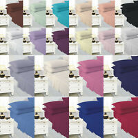 DOUBLE Size Plain Dyed Easycare Bedding Fitted Bed Sheet Poly Cotton 20+ Colors