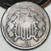 1866 US Two Cent Piece 2C Details Civil War Era Worn Date US Copper Coin CC3522