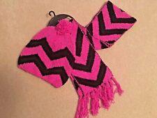 Girls Purple Stripe Hat Scarf 2 Piece Set Small
