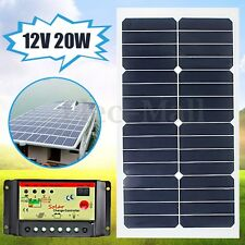 Elfeland 20W 12V Solar Panel +10A 12V/24V Battery Charger Controller For RV Boat