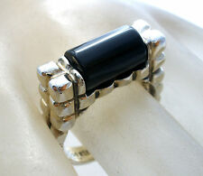 Sterling Silver Black Onyx Ring Vintage Size 7 Gemstone 925 Jewelry
