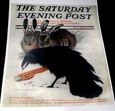 CROWS BLACK BIRD RAVENS EATING CORN RABBITS SNOW SATURDAY EVENING POST REPRINT