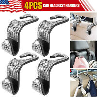 4PCS Bling Rhinestone Car Seat Headrest Hook Backseat Hanger Bag Hanging Holder