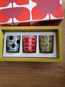 Orla Kiely 3 Mini Candle Gift Set Fig Tree, Earl Grey & Geranium New & Boxed